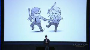 Illustration du discours sur Death Stranding par Yoji Shinkawa, le 13 septembre 2016 au Tokyo Game Show 2016