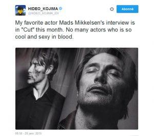 Tweet de Hideo Kojima sur Mads Mikkelsen