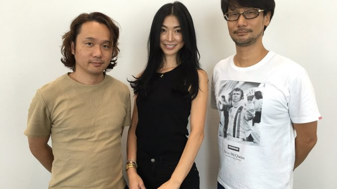 Yoji Shinkawa, Yasuko Okajima (animatrice) et Hideo Kojima, le 17 septembre 2016