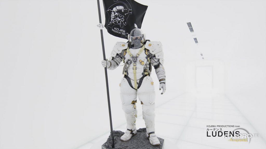 Statuette de Ludens dans le couloir d'entrée de Kojima Productions