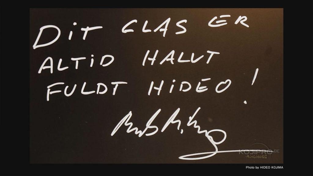 Message laissé par Mads Mikkelsen sur le mur de Kojima Productions - Janvier 2017