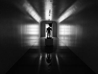 Ludens dans le couloir d'entrée de Kojima Productions, le 28 janvier 2017