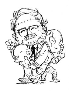 Illustration Death Stranding et Guillermo de Toro par Yoji Shinkawa