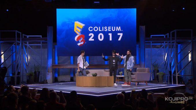 Ken Mendoza, Hideo Kojima et Jordan Vogt-Roberts à l'E3 Coliseum, le 14 juin 2017