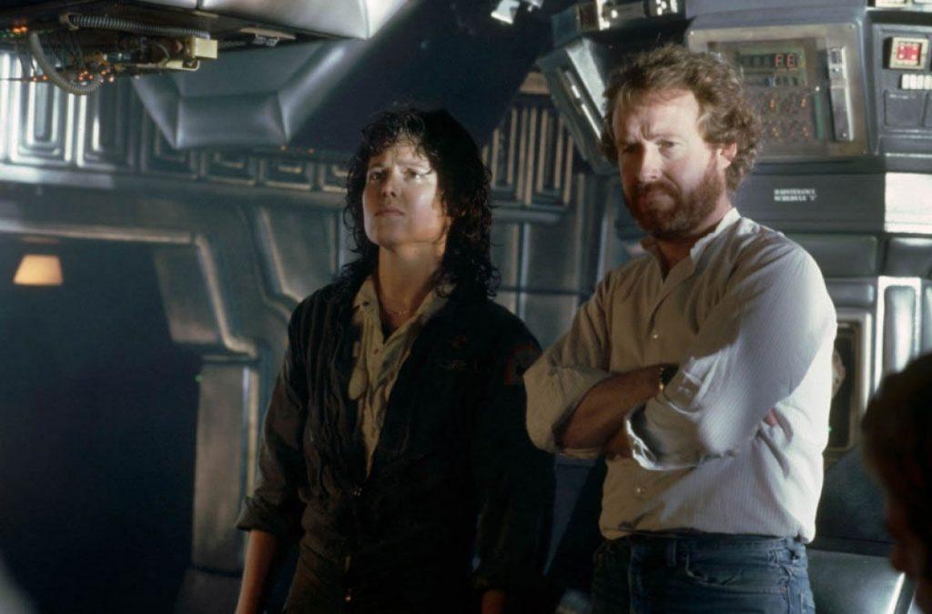 Sigourney Weaver et Ridley Scott lors du tournage de Alien (1979)