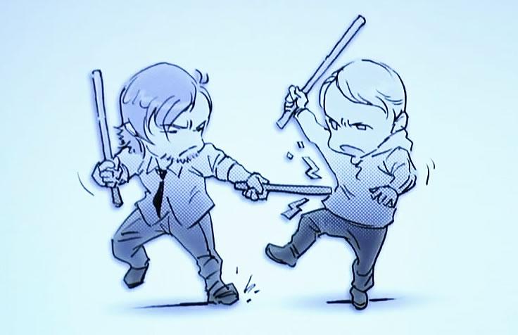 Caricature de Norman Reedus et Mads Mikkelsen, par Yoji Shinkawa pour Death Stranding