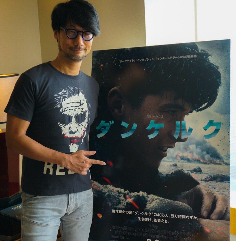 Hideo Kojima et l'affiche japonaise du film Dunkerque, le 25 août 2017