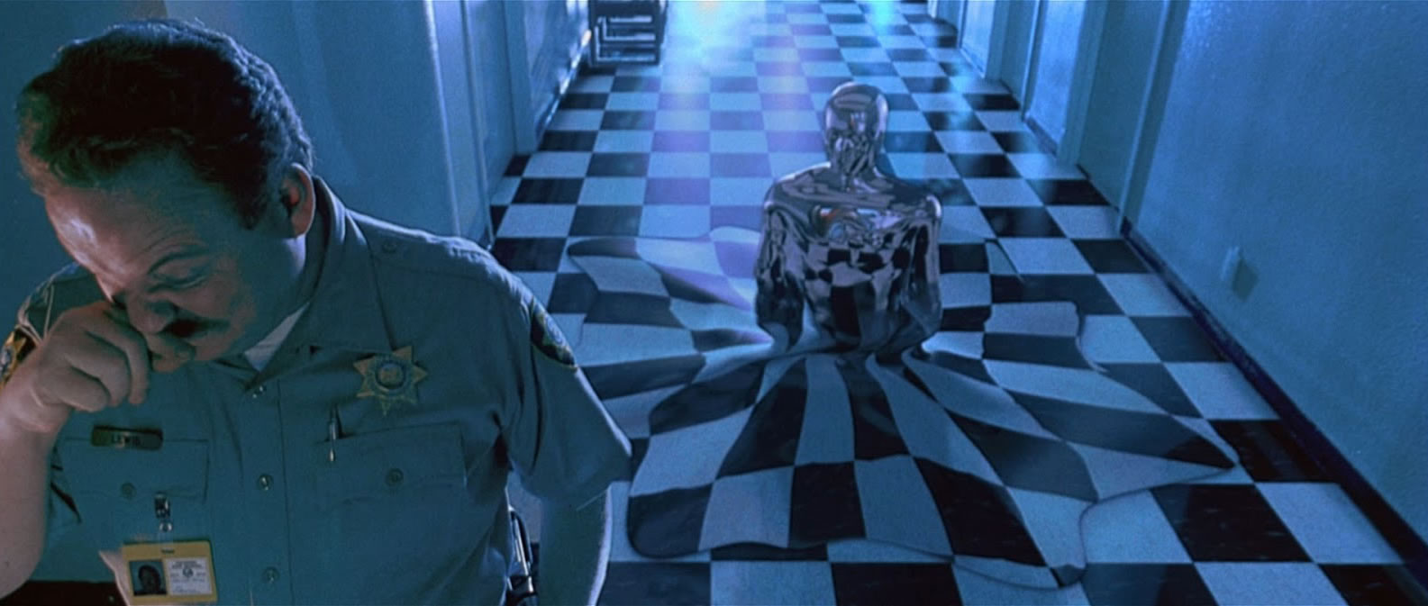 Don Stanton et le T-1000 (Robert Patrick) dans Terminator 2 : Le Jugement Dernier de James Cameron (1991)