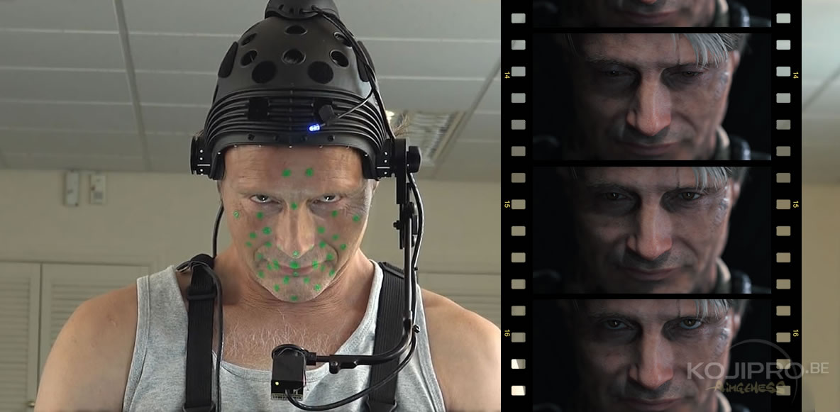 Mads Mikkelsen en performance capture pour Death Stranding (Kojima Productions), en août 2016