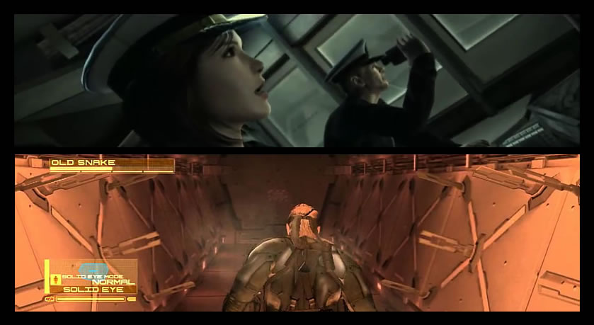 Scène du couloir à micro-ondes dans Metal Gear Solid 4 : Guns of the Patriots | Kojima Productions (2008)