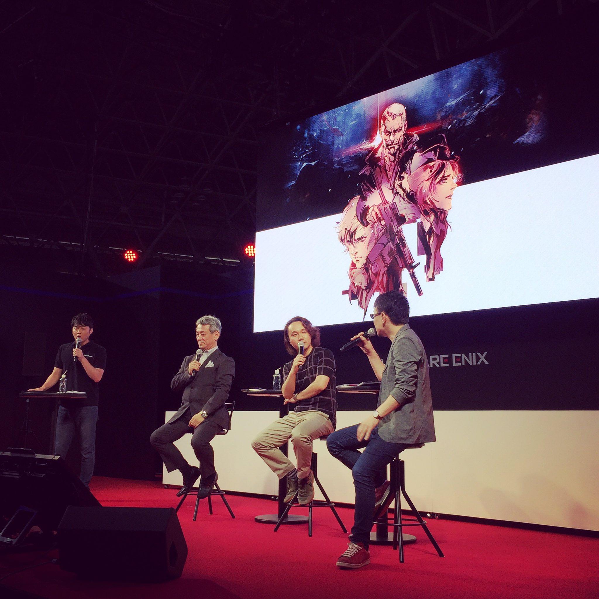 Au centre, Shinji Hashimoto, Yoji Shinkawa et Toshifumi Nabeshima au TGS, le 21 septembre 2017