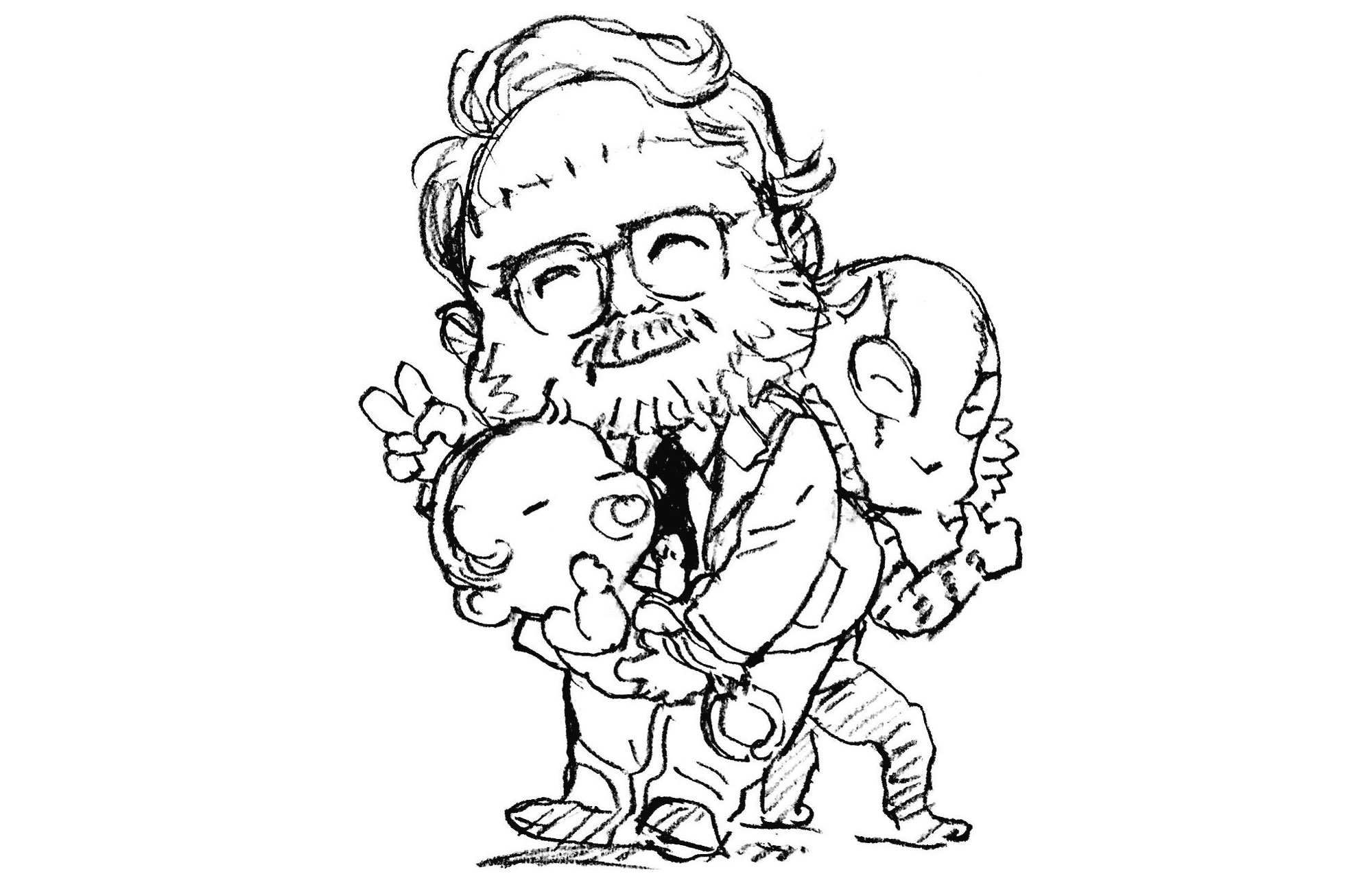 Guillermo del Toro dans Death Stranding, croqué par Yoji Shinkawa (2016)