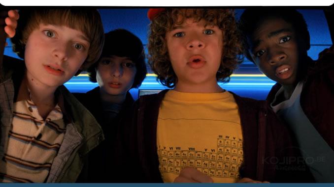 Noah Schnapp, Finn Wolfhard, Gaten Matarazzo et Caleb McLaughlin dans Stranger Things (2017 - Netflix)