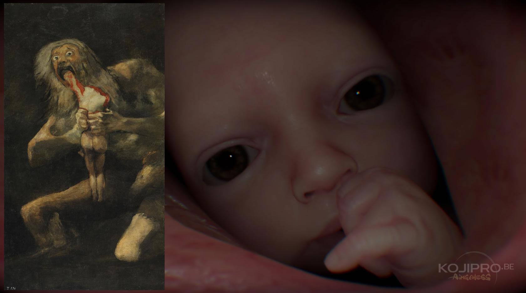 À gauche, le tableau de Francisco Goya, « Saturne dévorant un de ses fils » (1819 – 1823)