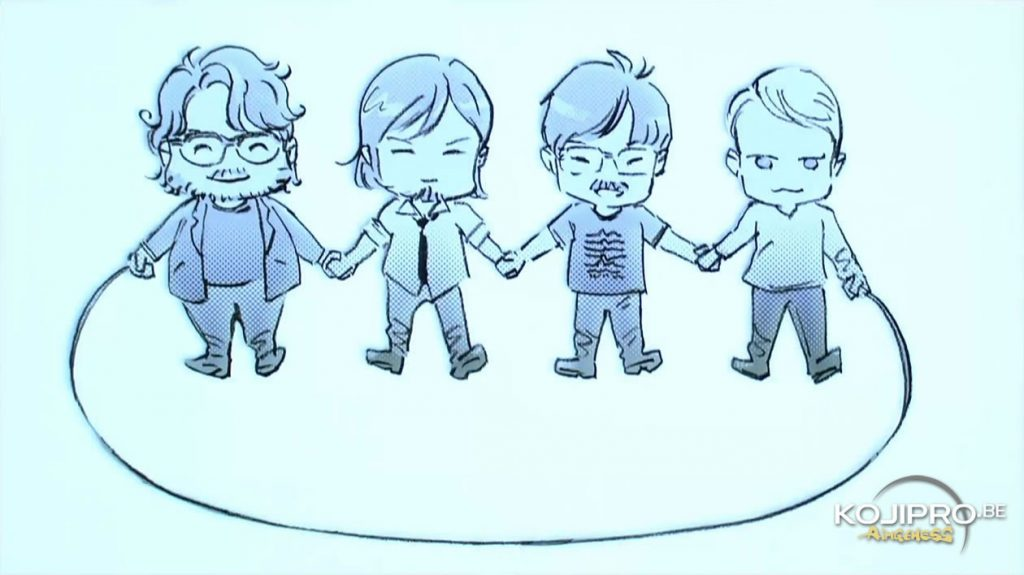 Guillermo del Toro, Norman Reedus, Hideo Kojima et Mads Mikkelsen croqués par Yoji Shinkawa.