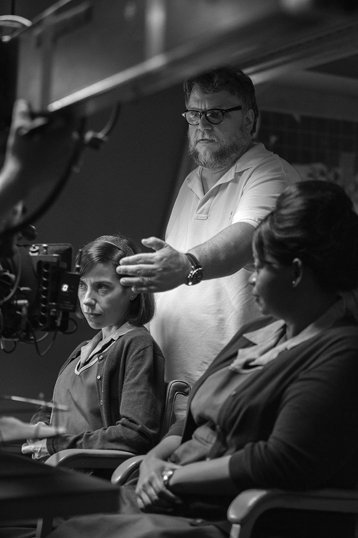 Sally Hawkins, Guillermo del Toro et Octavia Spencer lors du tournage de « The Shape of Water » (2017)