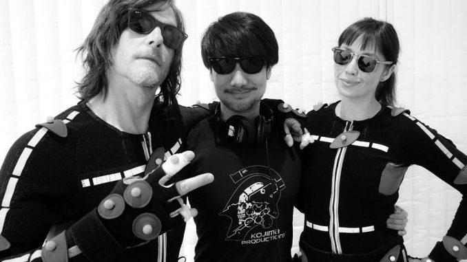 Norman Reedus, Hideo Kojima et Emily O'Brien sur le tournage de Death Stranding, le 22 février 2018