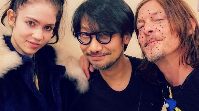 Grimes, Hideo Kojima et Norman Reedus sur le tournage de Death Stranding, le 23 février 2018