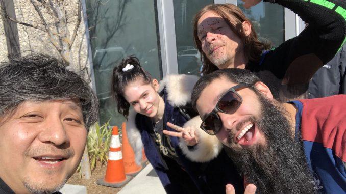 Ken Imaizumi, Grimes, Norman Reedus et Jordan Vogt-Roberts, le 23 février 2018
