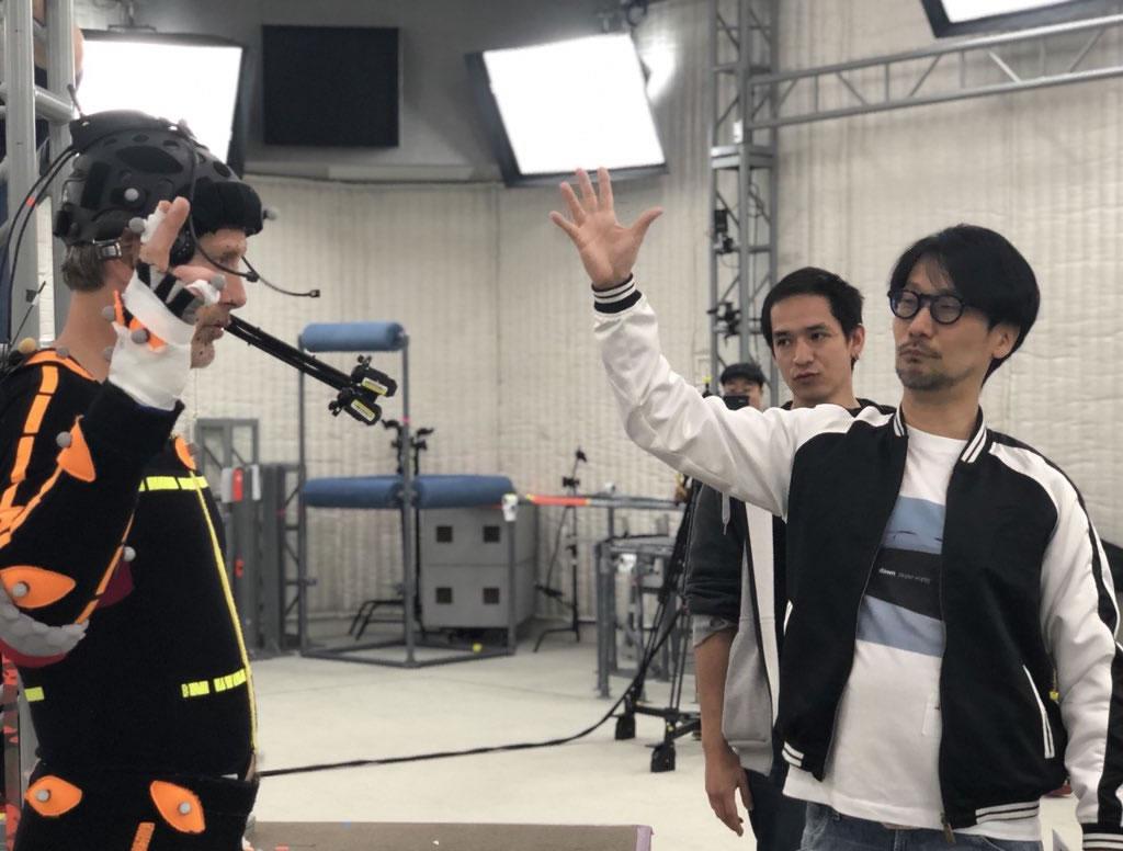 Mads Mikkelsen, Jorge Ken Hashimoto et Hideo Kojima, séance de performance capture pour Death Stranding, le 12 avril 2018