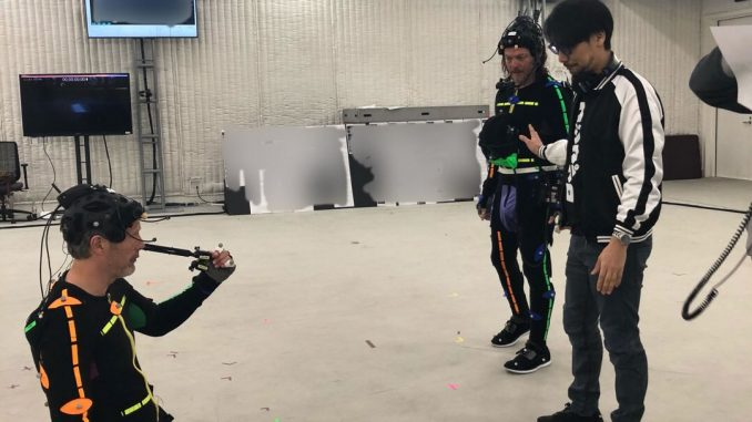 Mads Mikkelsen, Norman Reedus et Hideo Kojima, séance de performance capture pour Death Stranding, le 13 avril 2018