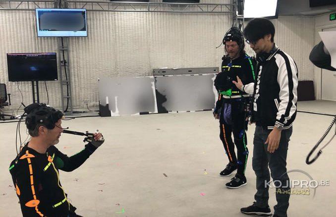 Mads Mikkelsen, Norman Reedus et Hideo Kojima en performance capture de Death Stranding, le 13 avril 2018