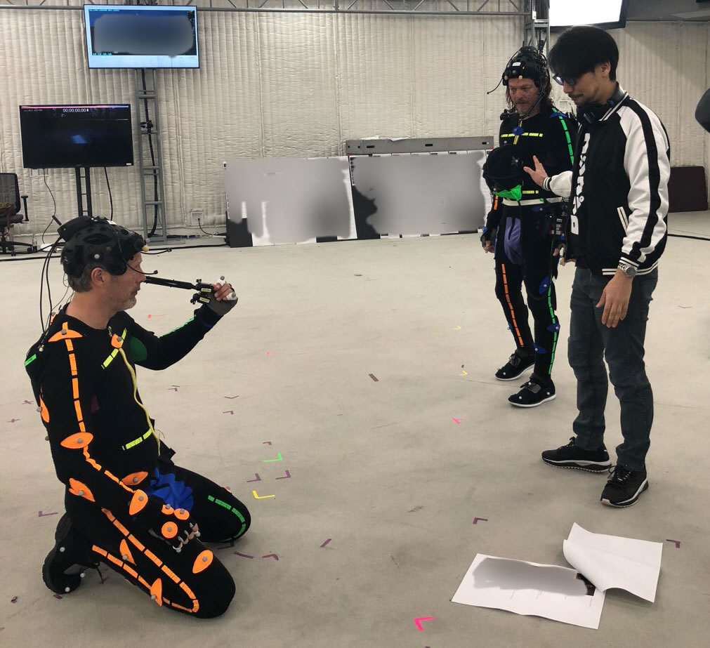 Mads Mikkelsen, Norman Reedus et Hideo Kojima en performance capture de Death Stranding, le 13 avril 2018