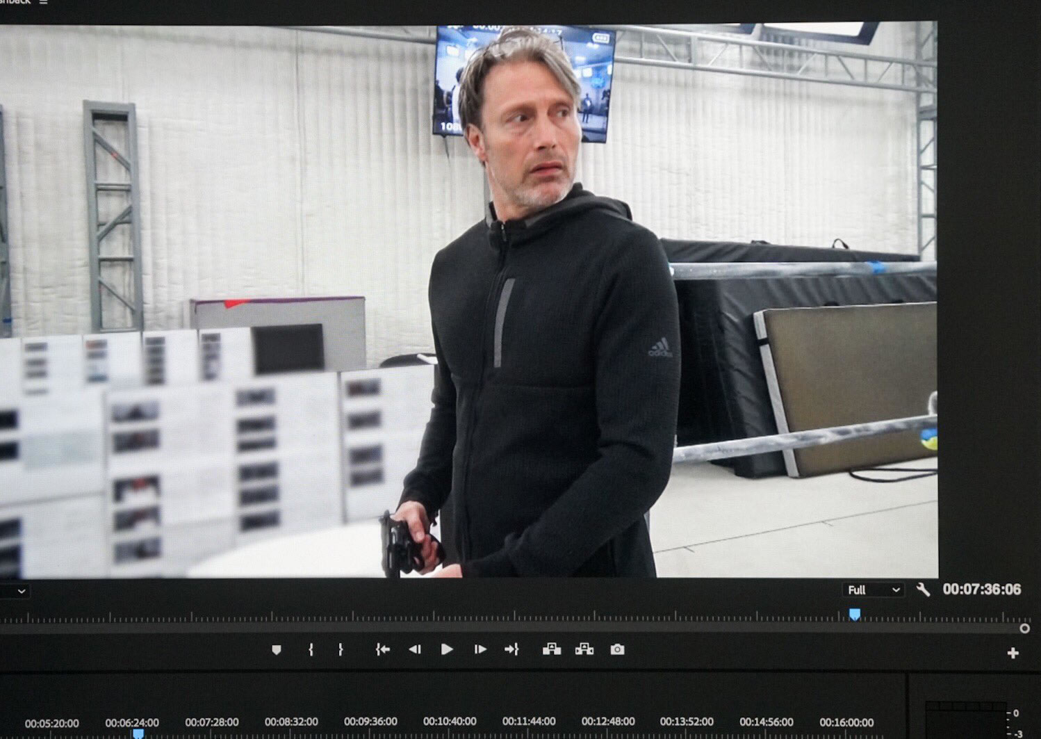 Mads Mikkelsen lors de la performance capture de Death Stranding, le 10 avril 2018