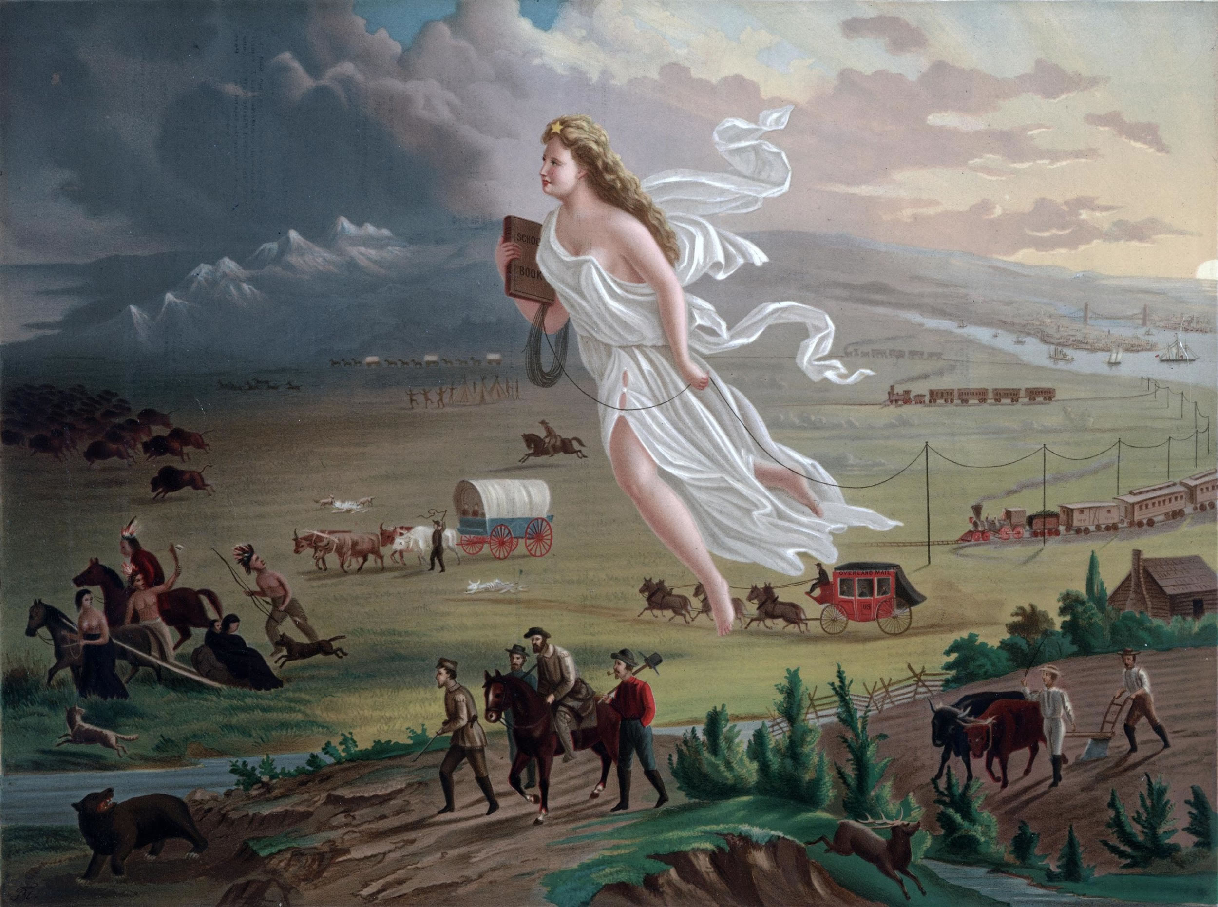 American Progress, peinture allégorique de John Galt (1872) représentant la destinée manifeste