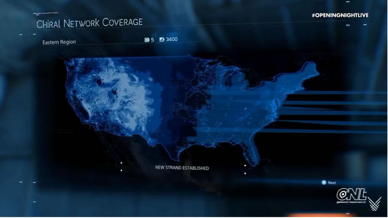 La carte de Death Stranding (2019), où l'on remarque quelques différences topographiques non négligeables avec les États-Unis