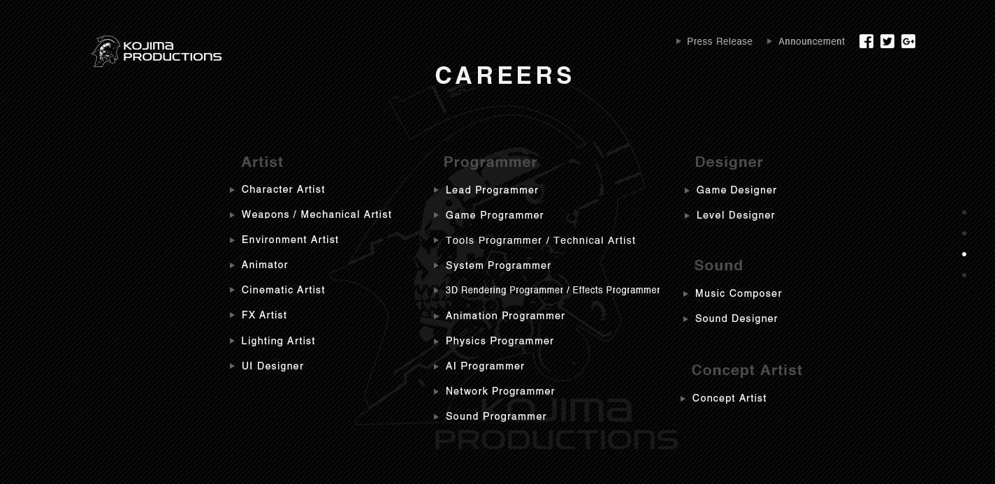 Page du site Kojima Productions