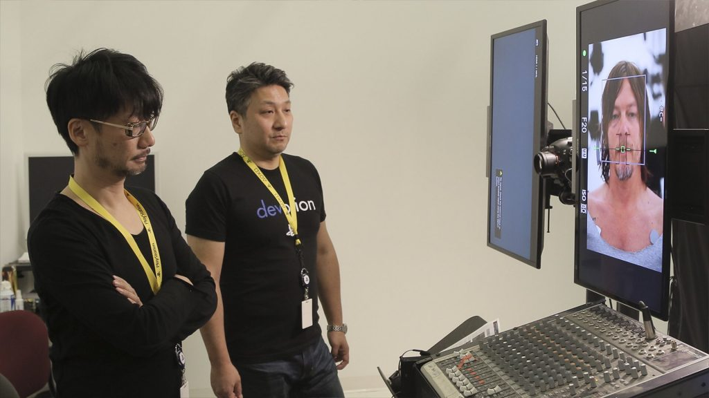 Hideo Kojima, Ken Imaizumi et Norman Reedus en performance capture de Death Stranding