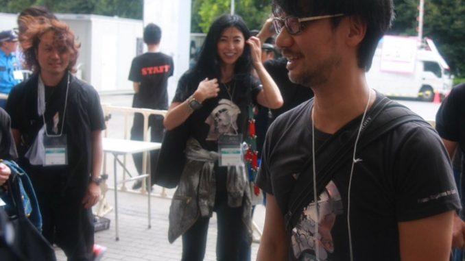 Yoji Shinkawa, Yasuko Okajima (animatrice) et Hideo Kojima, le 18 septembre 2016