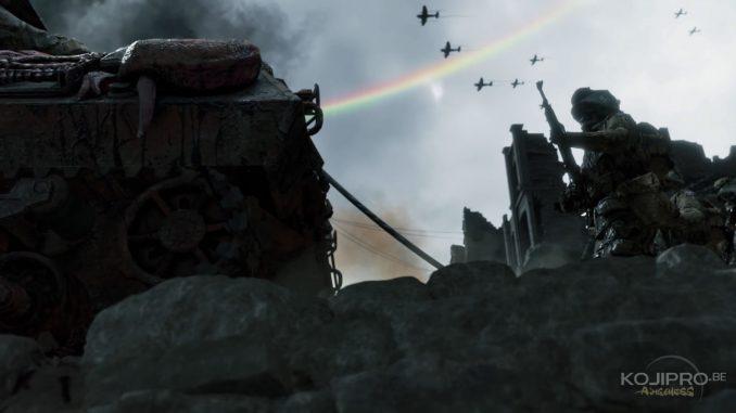 Un cordon relie le char aux soldats