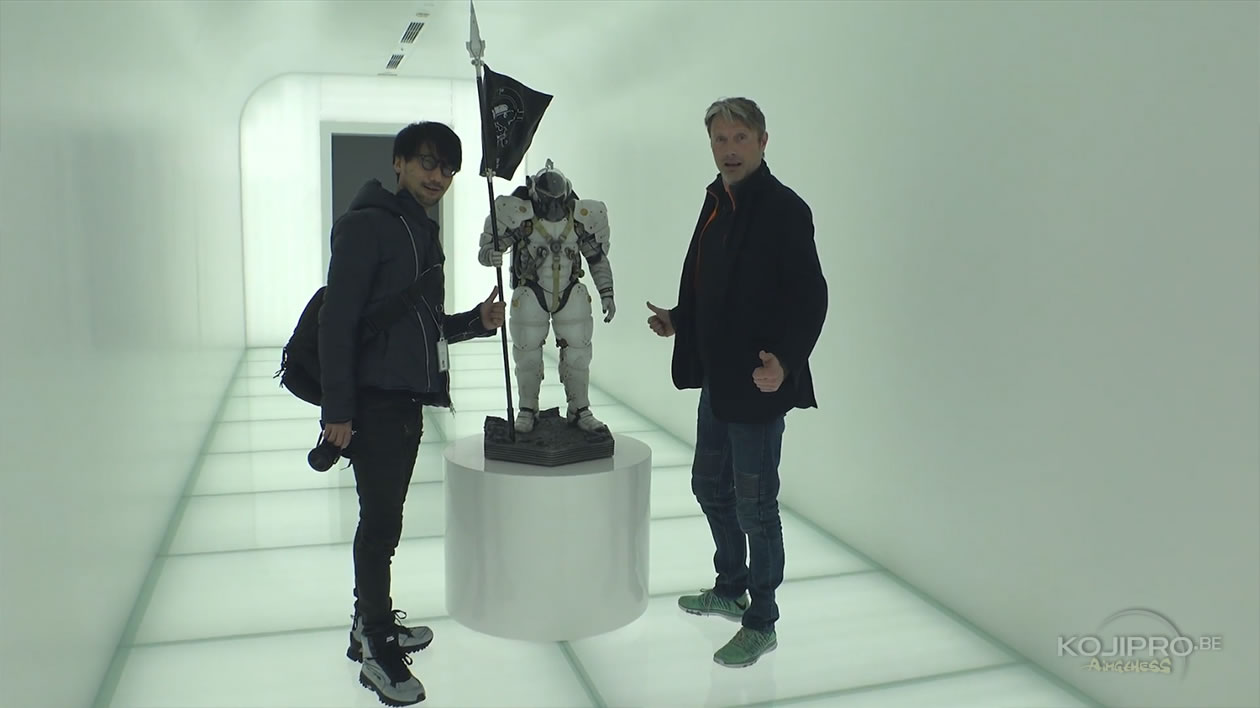 Hideo Kojima, Ludens et Mads Mikkelsen, dans le couloir d'entrée de Kojima Productions – Janvier 2017