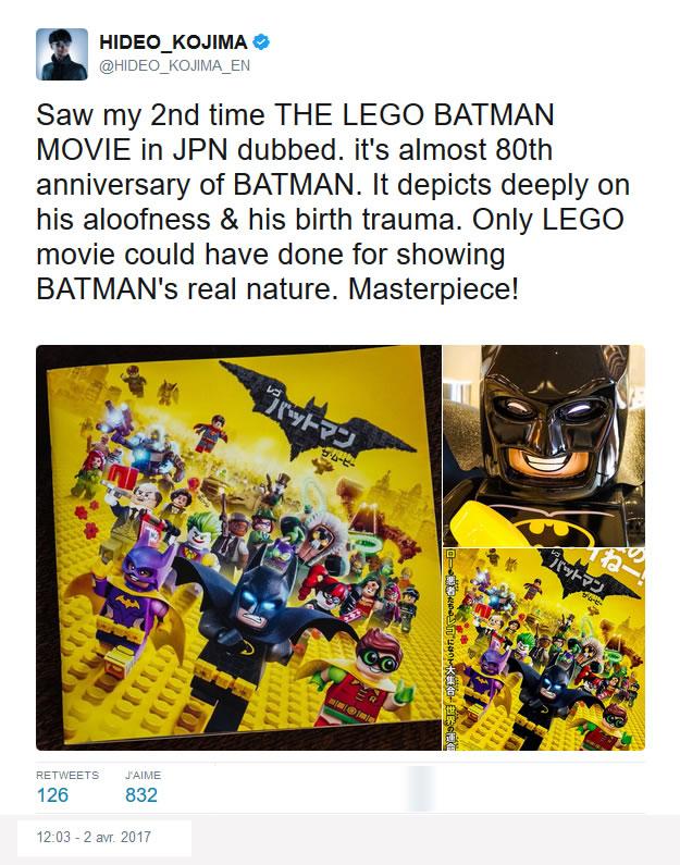 Critique de « Lego Batman, Le Film » par Hideo Kojima sur Twitter