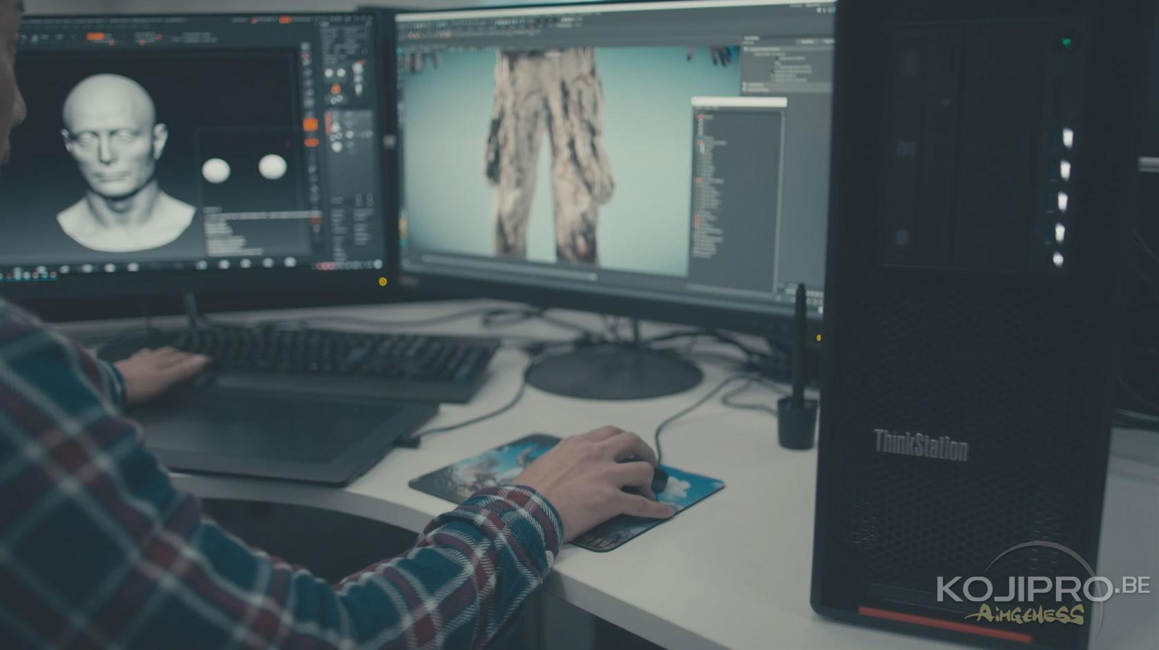 Création de modèles 3D de Death Stranding, lors de l'entretien avec Lenovo, en janvier 2017