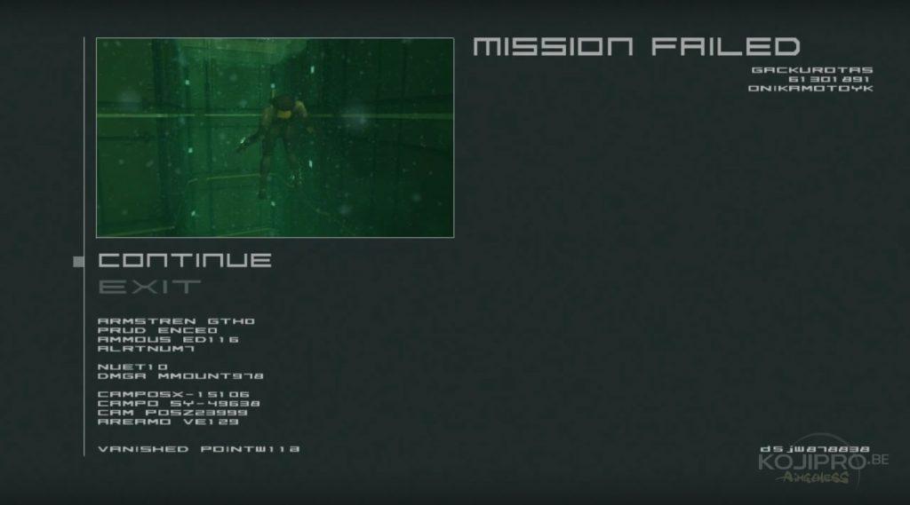 Le « game over » de Metal Gear Solid 2 (2001)