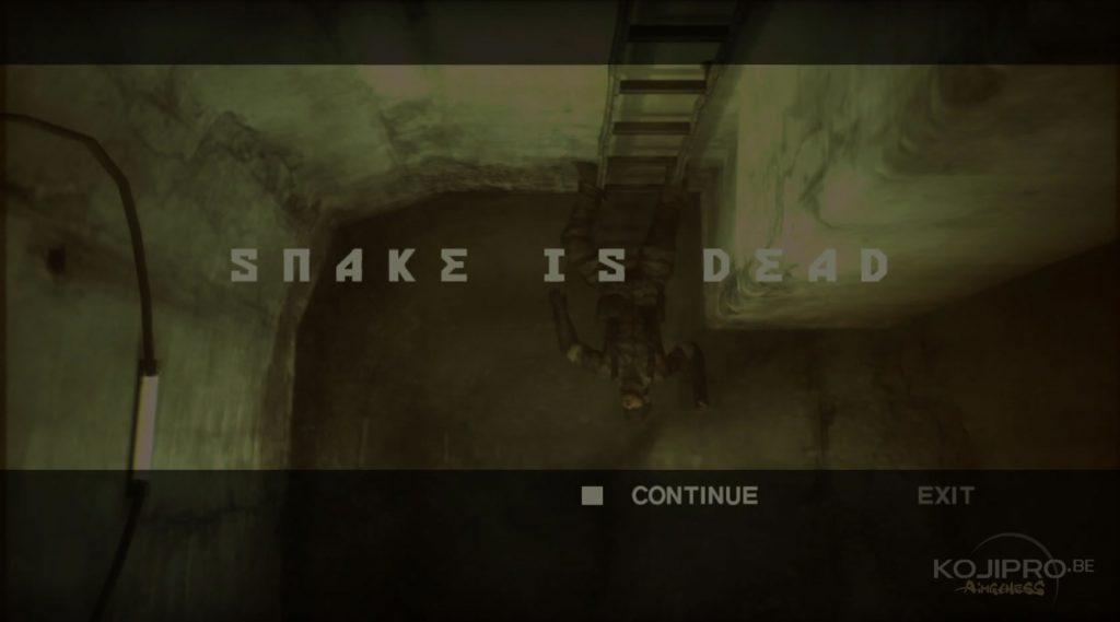 Le « game over » de Metal Gear Solid 3 (2004)