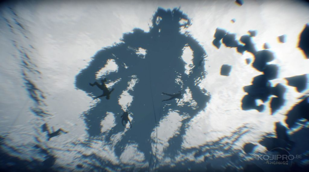 À la surface, un monstre s'empare d'un corps humain avec ses tentacules.