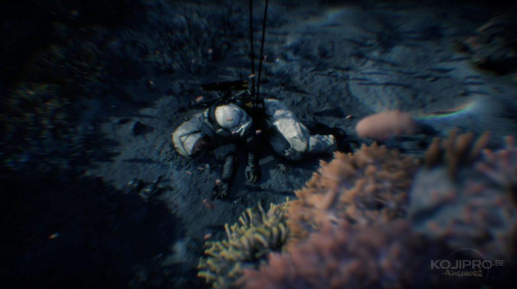 Des crabes bougent autour du corps de Sam.