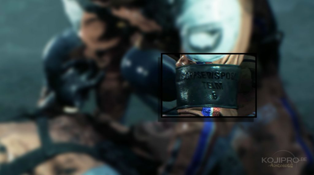 Sur le brassard du blessé et du « troisième homme », on peut lire : « Corpse Disposal Team 6 ».