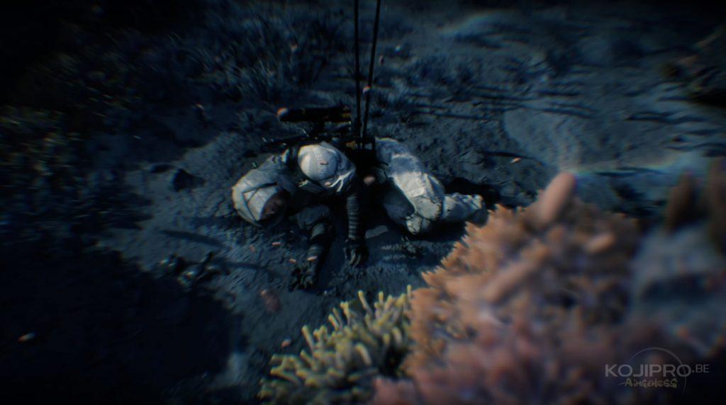 Deux cordons ombilicaux relient Sam à la surface.