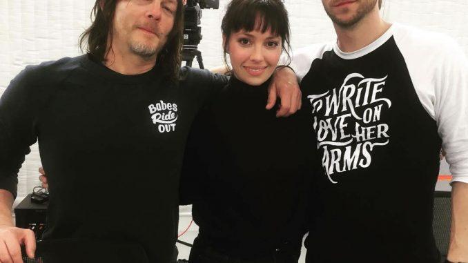 Norman Reedus, Emily O'Brien et Troy Baker sur le tournage de Death Stranding, le 21 février 2018