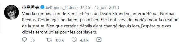 Tweet de Hideo Kojima